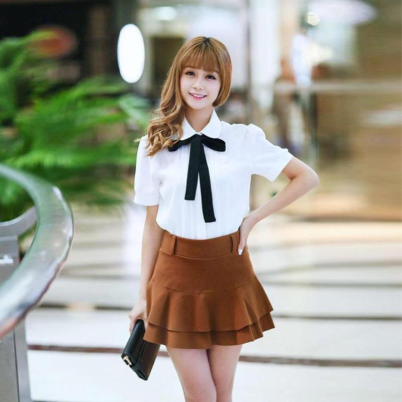 HTB1qqH2QXXXXXcMXFXXq6xXFXXXO - Korean Women Elegant Bow Tie White Blouses Clothing
