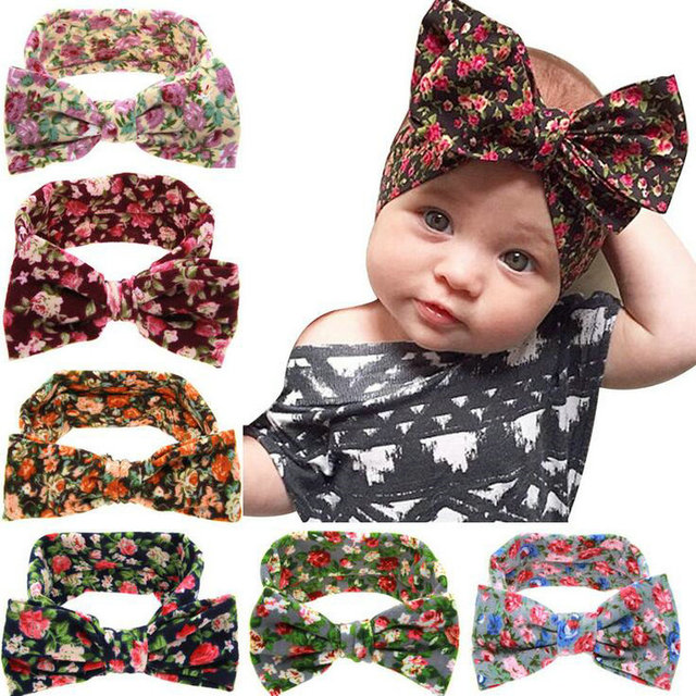 New Fashion Floral Headband Princess Big Bow Headwear Baby Girl Headbands  Infants Girls Hair Wear KD445 8b3f346f661