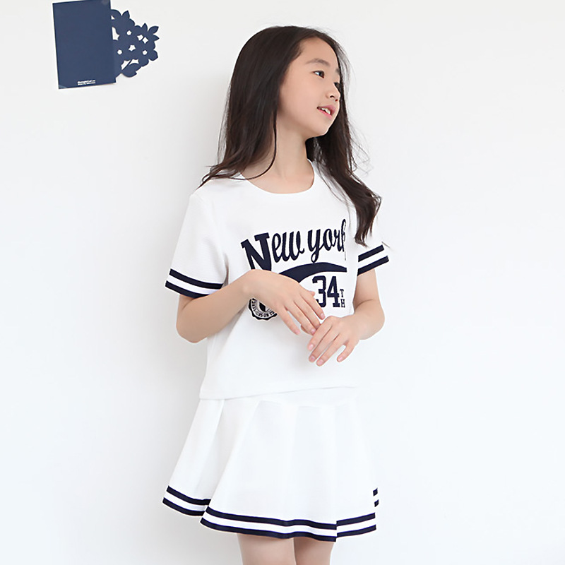 2018 Girls Cotton Clothing Sets Summer Fashion Style New York Printed T-Shirts+Skirt 2Pcs Girls Clothes Sets Baseball Sport Sets цена 2017