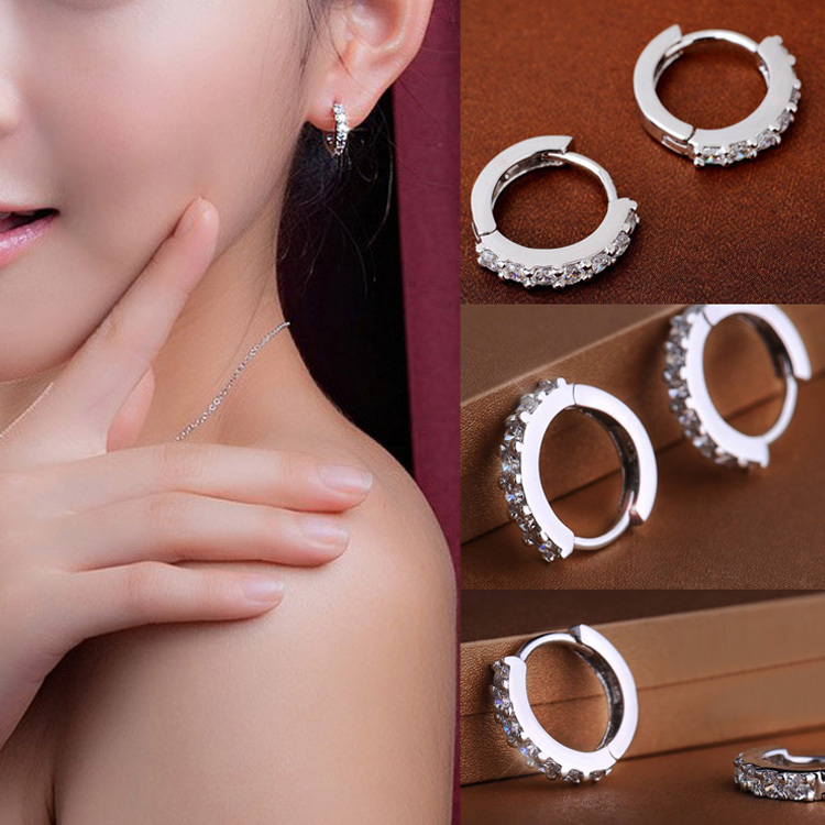 2018 New Fashion Chic Jewelry White silver plated Hoop Earrings Ear Stud Rafting Valentines Day gift drop shipping EAR-0281