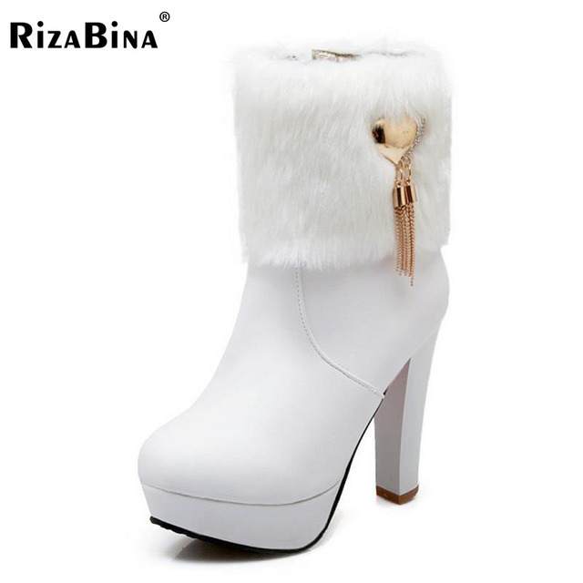 5649f2ff17 size 33-46 high heel half short women boot snow warm thickened fur plush  winter mid calf boots fashion footwear shoes P21779