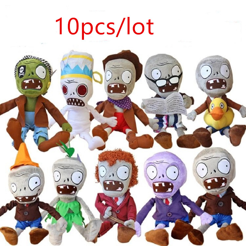 Hot 10pcs/lot  Plants Zombies Plush Toys Soft Plush Stuffed  Doll Game Figure Statue Baby  Doll Children Kids Toy hot sale plants vs zombies cucumber plush toy doll game figure statue baby toy for children gifts party toys