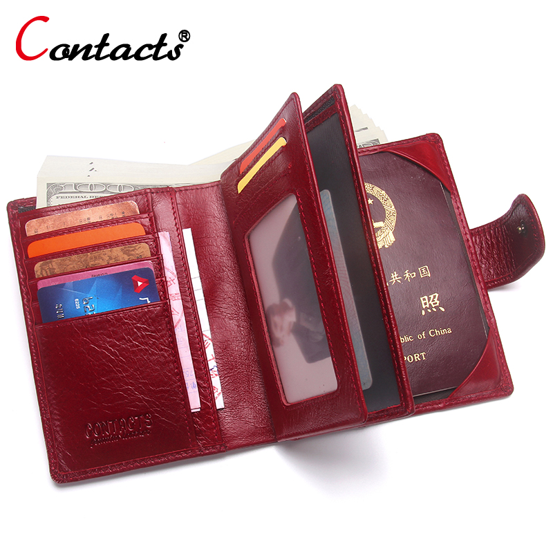 CONTACT'S Unisex Women Wallet Female Purses Genuine Leather Men Wallet Passport Cover Passport Holder Passport Case Card Holder simline vintage handmade genuine leather cowhide cover a6 loose leaf traveler s notebook diary passport holder cover wallet men