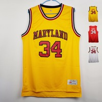 MM MASMIG The Most Talented BBaller Len Bias 34 Maryland Basketball Jersey Stitched White Yellow And