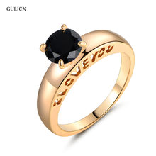 GULICX New I LOVE YOU Finger Ring for Women Gold-color Black Crystal Cubic Zirconia Band Engagement Ring Jewelry 2016 R126(China)