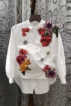 2017 Spring women  three-dimensional beading low-high pressure pleated print loose shirt