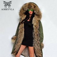 AORRYVLA Fashion Women Fur Parka Winter 2017 Long Real Raccoon Fur Collar Hooded With Detachable Lining