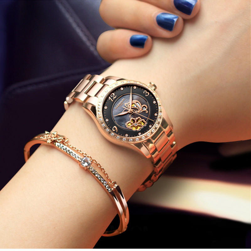 Carnival brand rhinestone clock luxury watch women waterproof mechanical wrist watches lady relogio feminine reloj mujer