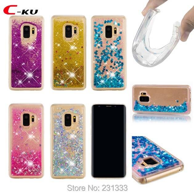 C-ku 3D Glitter Liquid Quicksand Soft TPU Case For Samsung Galaxy S9 PLUS J5 J7 2017 A8 J2 PRO 2018 J120 Heart Skin Luxury 1pcs