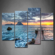 Wall Art Pictures 4 Panels Unframed Ocean Sunset Pier Canvas Print Modern Seascape Posters No Frame For Living Room Office Decor