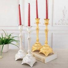 1 par de metal suporte de vela ouro prata cor decoração do casamento presente europeu casa decoração castiçal centros mesa para boda