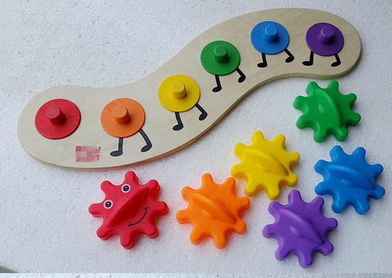 New Wooden Toy Baby Toy Assembled Gear Worm Colorful Great Gift for Children Learning Baby Gift 2017 hot sale forest animals children assembled diy wooden building blocks toys baby toy best gift for children ht2265