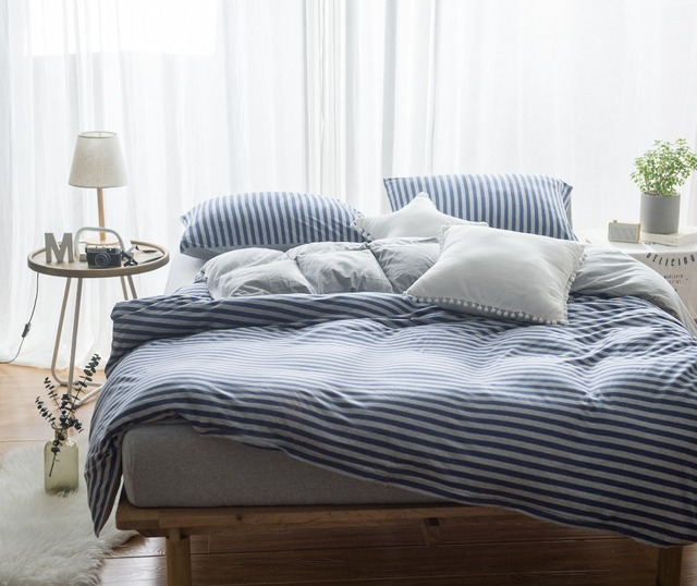 Blue Stripe Washed Cotton Queen Size 4 Piece Bed Set For Sale King Duvet  Cover 1.8