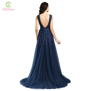Image 3 - Robe De Soiree SSYFashion Sexy Backless Long Evening Dresses The Bride Elegant Banquet Green Lace V neck Formal Party Gown