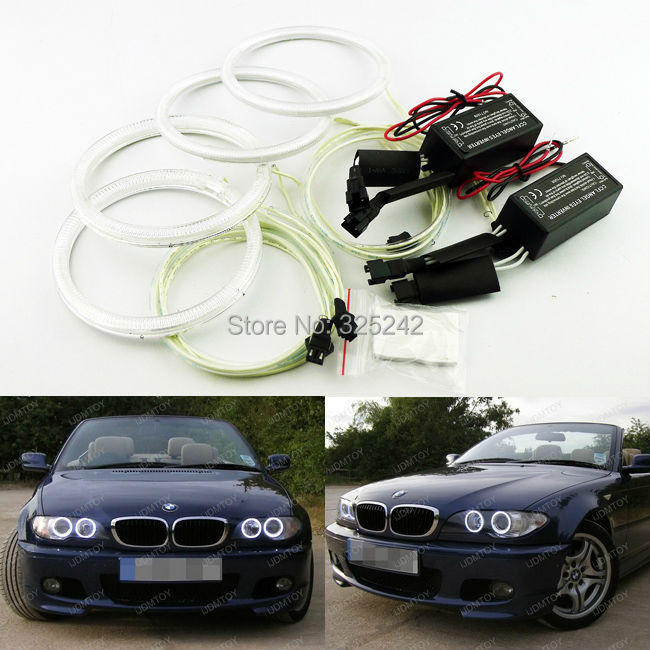ФОТО For BMW LCI E46 3 Series 2D Xenon Headlight 04-06 Excellent Ultra bright headlight illumination CCFL Angel Eyes Halo Rings kit