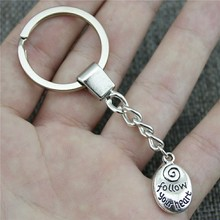 20x12mm Follow Your Heart Key Ring Vintage New Fashion Metal Chain Party Gift Dropshipping Jewellery