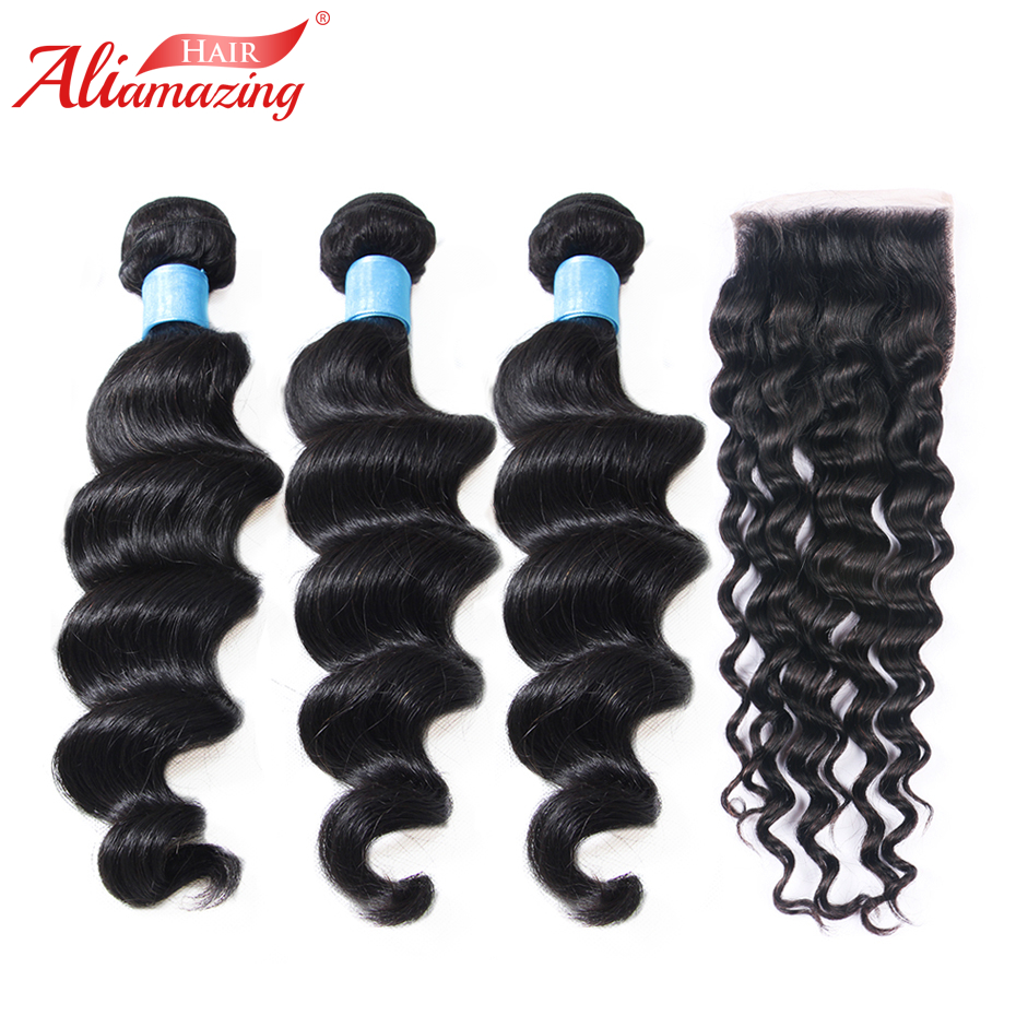 Ali Amazing Hair Human Hair Bundles With Closure Brazilian Loose Wave 3 Bundles with 5x5 Lace Closure 4pcs/lot #1B Free Shipping