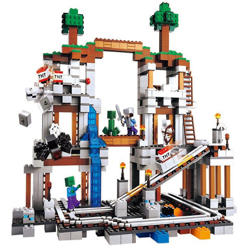 Qunlong Toy 922pcs MY WORLD The Mine Mountain Building Blocks Educational Bricks Toys For Kid Compatible Legoed Minecrafted City qunlong 0521 my world volcano mine building blocks toy compatible legoe minecraft building block city educational boys toy gift