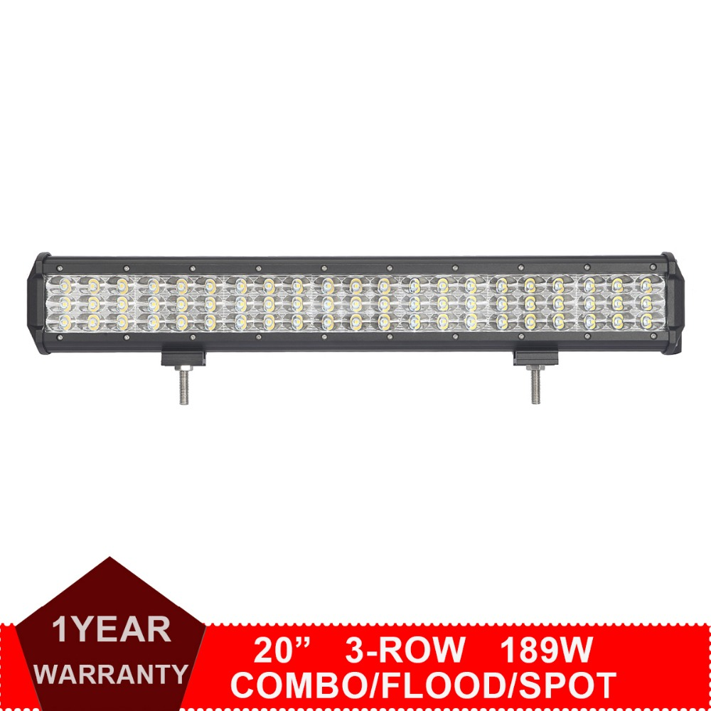 Z&L 20 Inch 189W 3-Row LED Work Light Bar Indicator Lamp Tractor Boat Car Off Road 4WD 4x4 Truck SUV ATV Wagon 12V 24V Headlight g126y 2pcs red led light 25 31mm spst 4pin on off boat rocker switch 16a 250v 20a 125v car dashboard home high quality cheaper