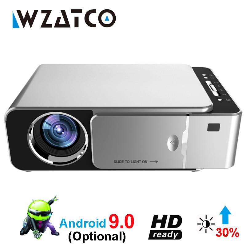 WZATCO T6 Android 9 0 WIFI Smart Optional support 1080p HD LED Portable Mini Projector Video