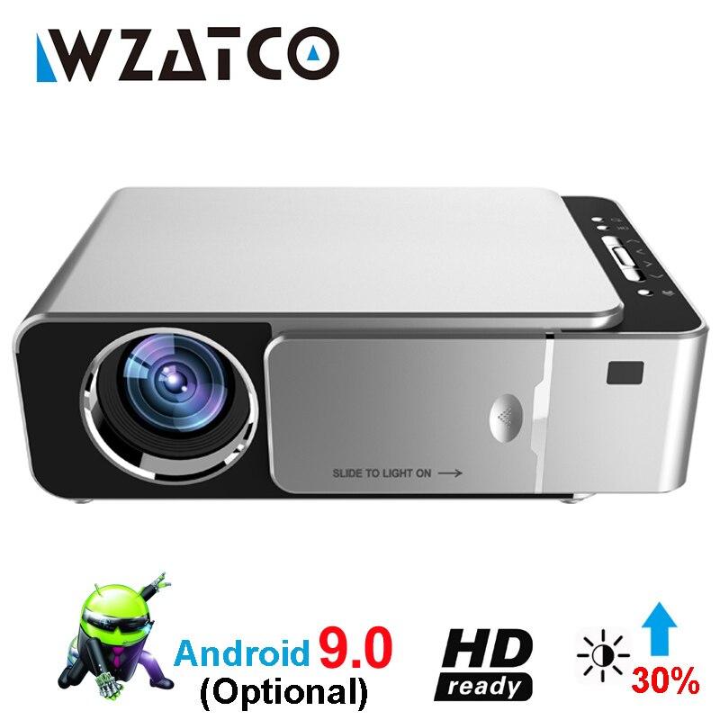 WZATCO T6 Android 9.0 WIFI Inteligente Opcional suporte HD 1080 p LED Portátil Mini Projetor de Vídeo Para Home Theater Jogo sala de Cinema