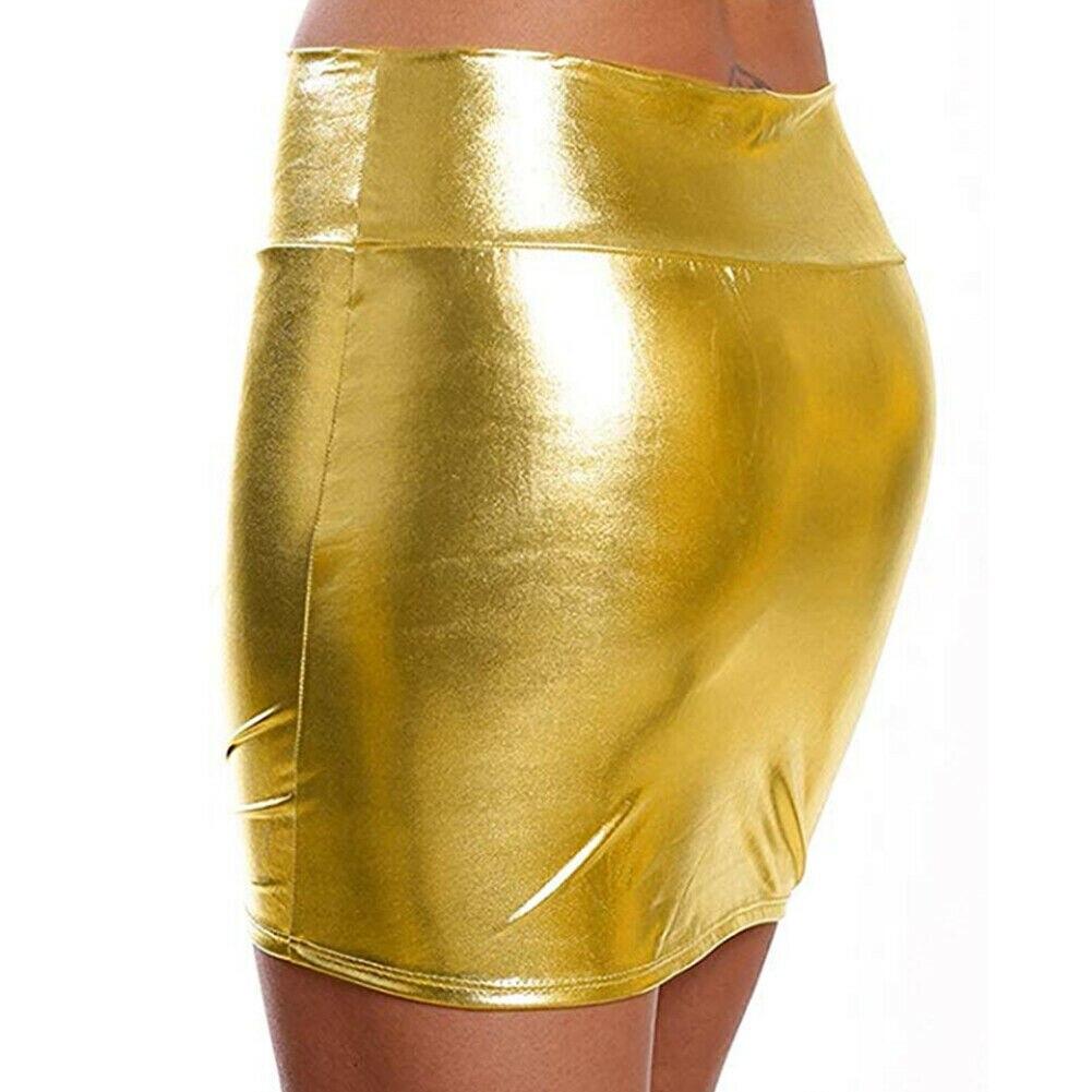 Women Short Mini Skirt Girls Shiny Wet Look Bodycon Short Slim Micro High Waist Pencil Skirt Summer in Skirts from Women 39 s Clothing