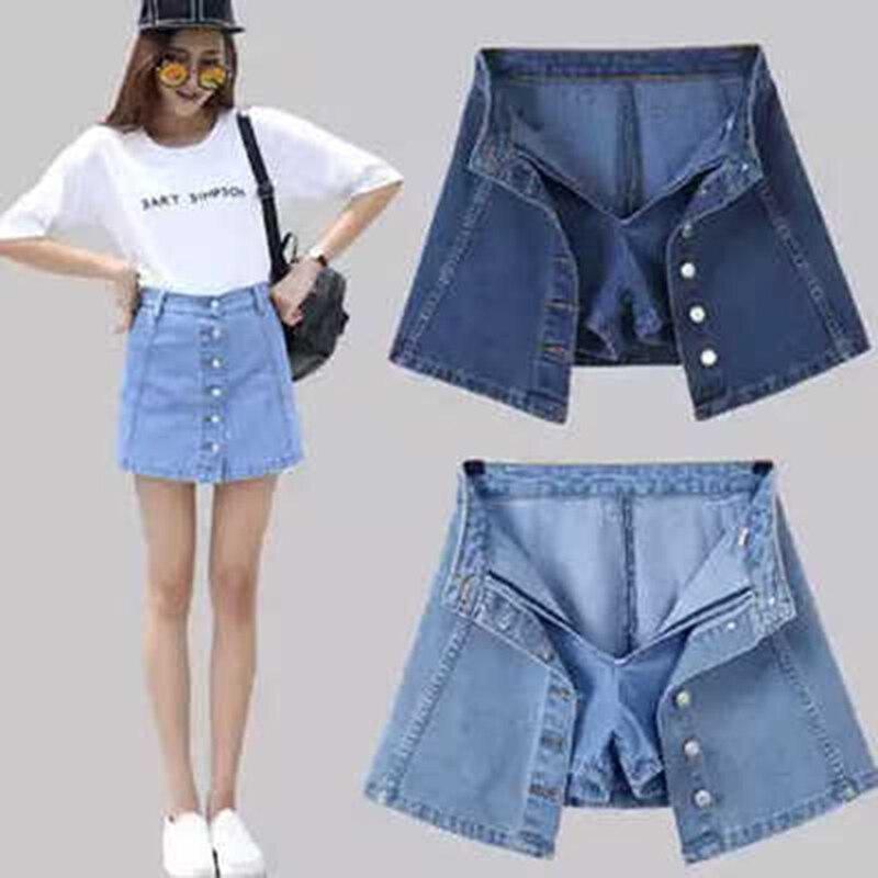 Faldas Mujer Moda 2018 Women High Waist A-Line Denim Skirts Casual Harajuku Single-Breasted Mini Skirt Jeans Skirt