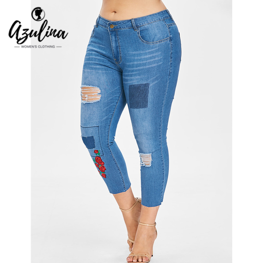 AZULINA Plus Size Embroidered Patch Jeans Denim Capri Pant Women Skinny Ripped Pockets Pen