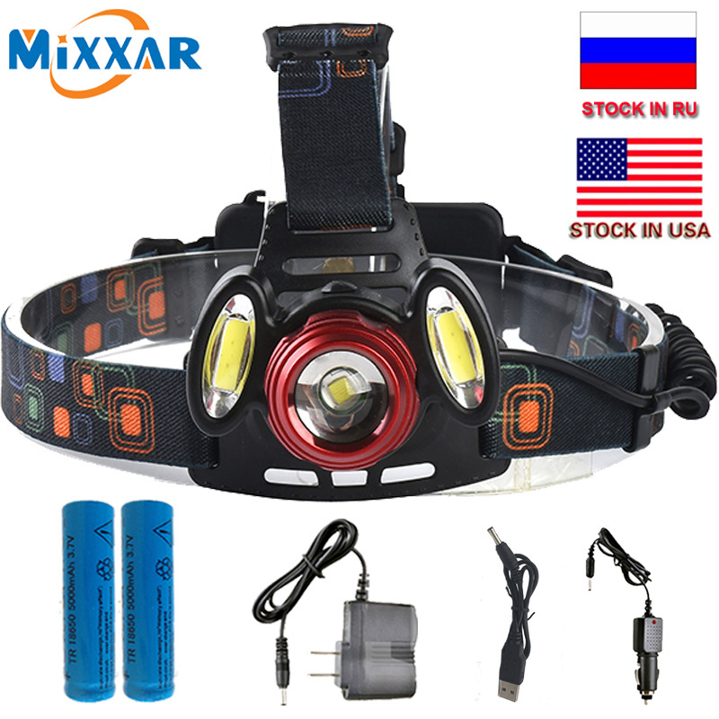 ZK20 Dropshipping T6+2COB 8000LM Rechargeable LED Headlamp Headlight  Zoom Head Fishing Light Lamp 18650 Battery AC USB ChargerZK20 Dropshipping T6+2COB 8000LM Rechargeable LED Headlamp Headlight  Zoom Head Fishing Light Lamp 18650 Battery AC USB Charger