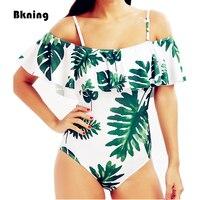 Bkning Sexy Flounce Strappy Print Bathing Suit Women Beach Bather Green 1 One Piece Swim Wear
