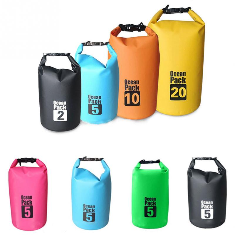 2/5/10/15/20/30L Outdoor Boating Kayaking PVC Waterproof Dry Bag Lightweight Diving floating Camping Hiking Swimming Bags 20l 30l river trekking bags waterproof surfing swimming storage dry sack bag pvc pouch boating kayaking canoeing floating