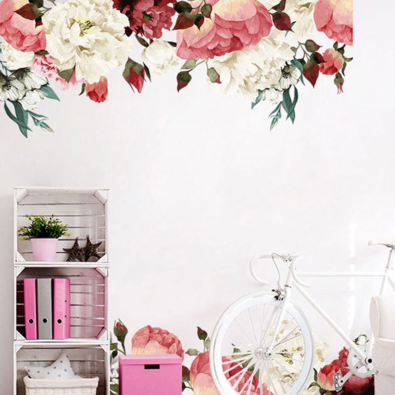 1PCS 3D Chinese Style Peony Stickers Flower Baseboard Wall Sticker For Living Room Bedroom Furniture Wall Decal 45 60CM 2 in Wall Stickers from Home Garden