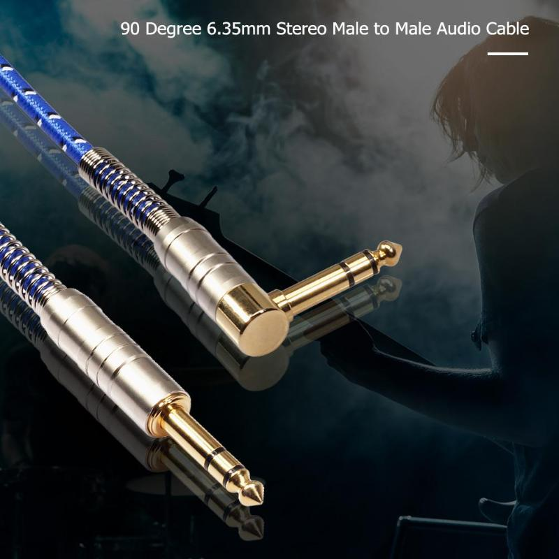 Image 2 - 90 Degree high quility 6.35mm Stereo Male to Male Audio Cable for electric guitar, microphone, power amplifier combination audio