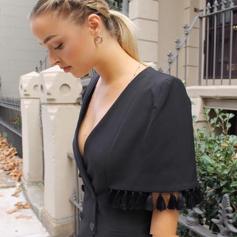Supérieure Moulante Fête Profond Femme Robe 2019 Courtes De Col Noir V En Soirée Gland Sexy Qualité Manches Mode Pour Robes D'été Tq40AOAw