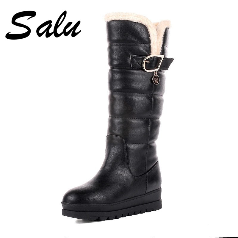 Salu 2018 New Winter boots us big size 11 12 Women Snow Boots Shoes Woman Waterproof Platform Mid Calf Boots Boats Mujer цена
