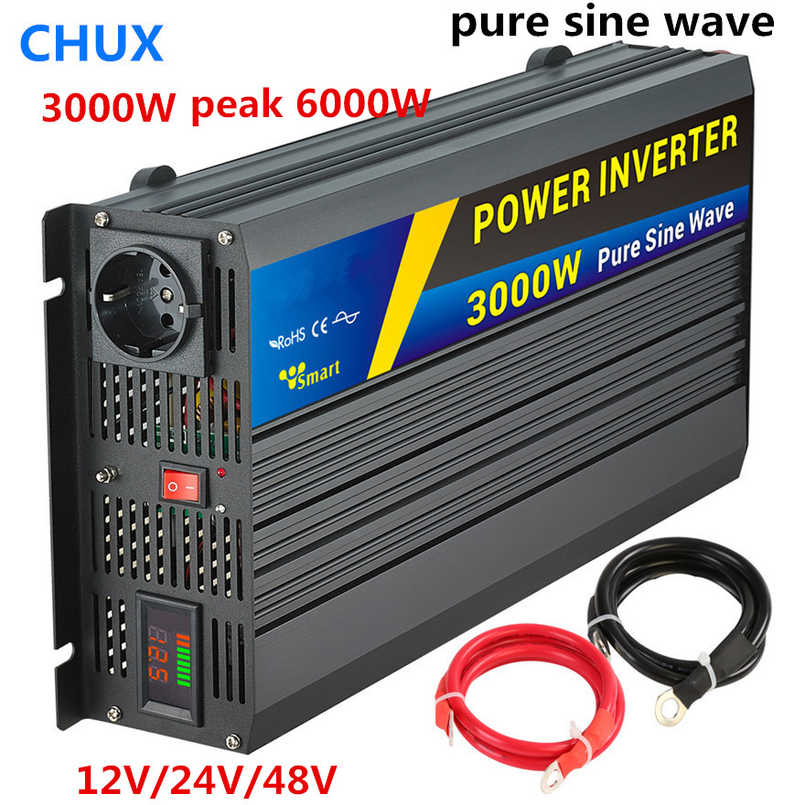 3000W Peak 6000W Pure Sine Wave Inverter DC 12V 24v 48v to AC 110V 120V Converter