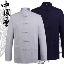 Высокое качество Весна Осень Мужская с длинным рукавом Хлопок Лен Тан костюм рубашки Кунг Фу Стенд воротник куртки