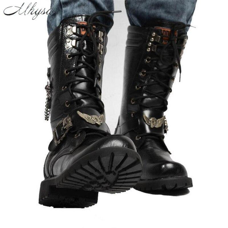 Métal Mi S836 Mhysa Haute Chaussures Noir Militaire mollet Combat Hommes Chaîne Moto Bottes Armée 2018 Mâle En Automne n0CxaCqwP4