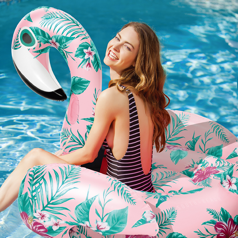 152cm Giant Flower Print Swan Pink Flamingo Inflatable Float For Adult Pool Party Toys Ride-On Air Mattress Swimming Ring boia