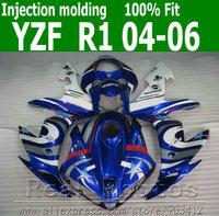 Injection molding bodywork fairings for YAMAHA R1 fairing kit 2004 2005 2006 white blue sets YZF R1 04 05 06 AS72