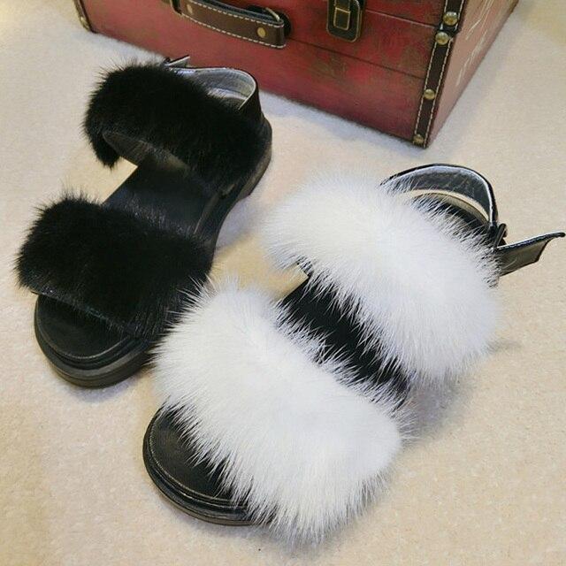 Women fur sandal shoes Summer/Winter real mink fur flat shoes