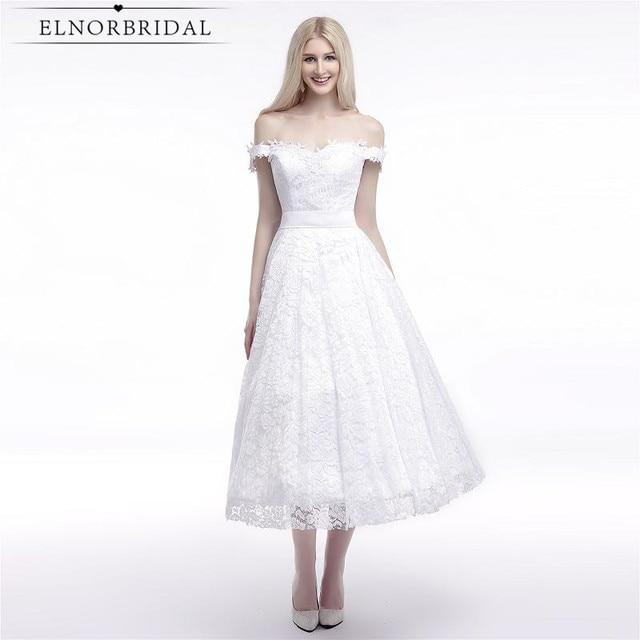 Modest Tea Length Wedding Dresses Lace 2017 Robe De Mariee Off The ...