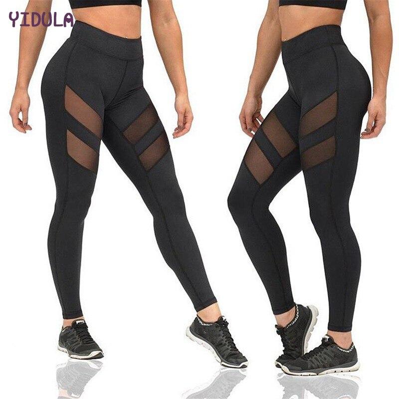 Prix pour YIDULA 2017 Leggings Femmes Filles Splice Fitness Slim Noir De Yoga pantalon Casquette Sport Course à Pied jogging femme collants plus la Taille S-2XL