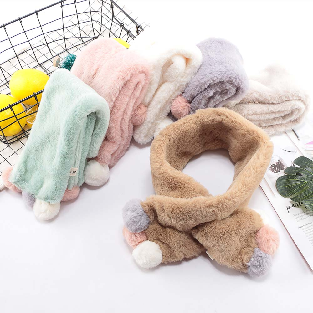 Sweet-Tempered 2019 Winter Cute Children Scarf Boy Girls Scarves Baby Imitation Rabbit Fur Collar Scarf With Neck Warmers Apparel Accessories Girl's Accessories
