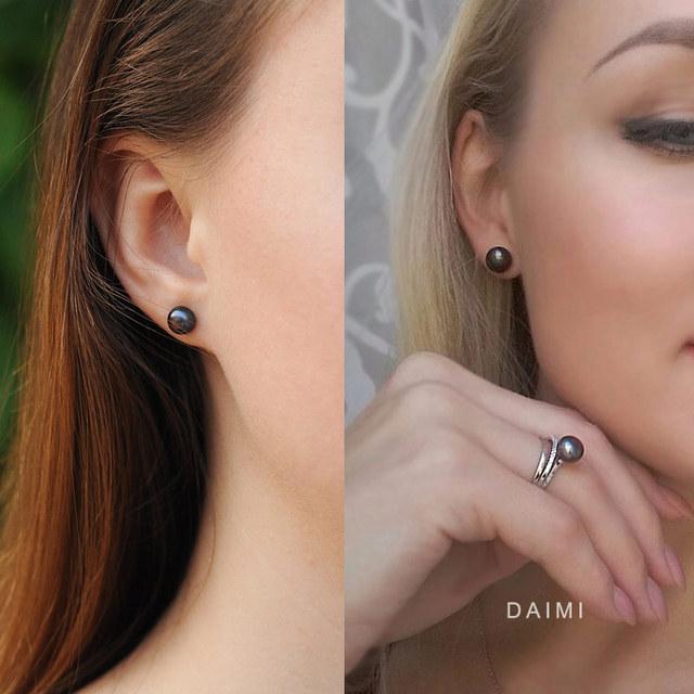 DAIMI Black Earrings  4 Size Black Freshwater Pearl Stud Earrings 925 Sterling Silver Earrings