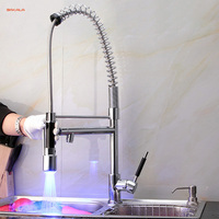 BAKALA Free Shipping LED Kitchen Faucet Pull Out Sink Mixer Swivel Taps Sprayer Head Pull Down