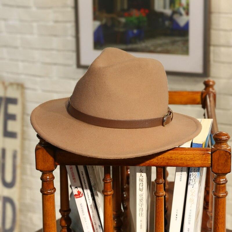 100% Wollfilz Jazz Hut Für Frauen Wilde Krempe Panama Fedoras Mit Metall Dekoration Casual Einfarbig Chapeau Femme B-7874 100% Garantie