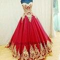 Vermelho com Ouro Apliques Evening Vestidos Lace Up Voltar A Linha do Querido Real Desgaste Formal Vestido De Festa Vestidos de Celebridades