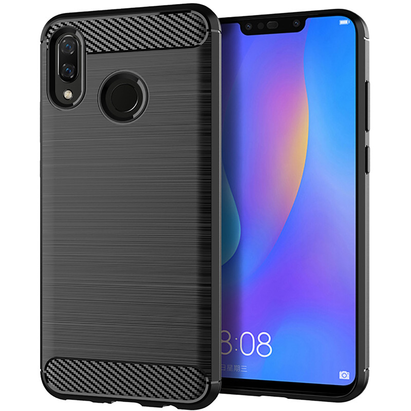 For Huawei Y9 2019 Case Luxury Carbon Fiber Texture