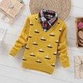 Los Suéteres de Los Muchachos Suéter de Punto 2016 Nuevo Otoño Invierno Suéter Ropa de Niños